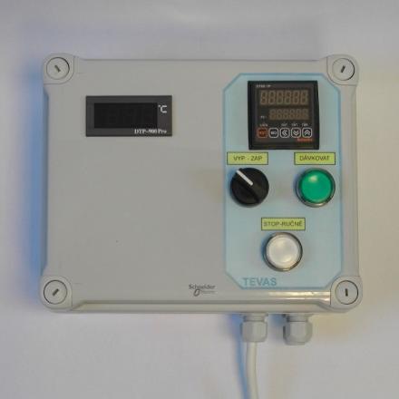 Vyhodnocovací jednotka TDS-01 s teploměrem.